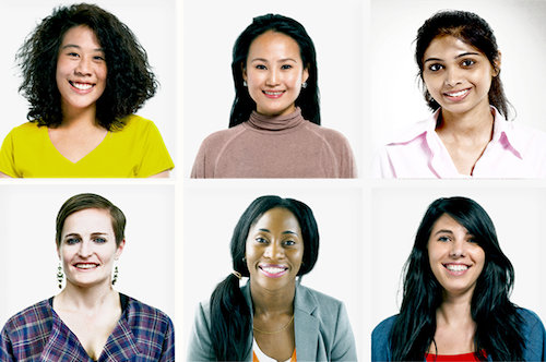diverse group of six women's faces